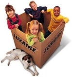 children in a luxaire box